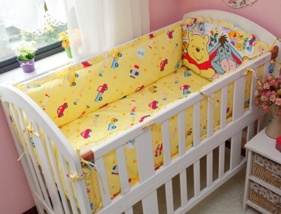 Promotion! 6PCS baby cot bedding set cot bed bed bumper curtain baby bumpers,include(bumper+sheet+pillow cover)