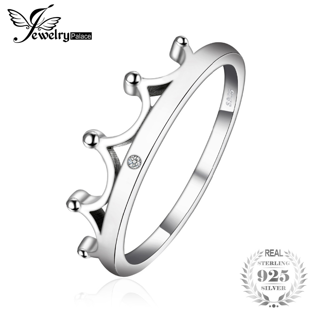 цена на JewelryPalace Vintage Cubic Zirconia Crown Ring For Women 925 Sterling Silver 2018 Fashion Finger Ring Nice Gift For Wife/Girls