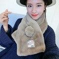 Nueva Manera Coreana otoño invierno de Alta calidad Niñas bufanda Caliente Bufanda Del Mantón Del Abrigo de pelo de conejo de felpa Del Cabrito Más caliente de Espesor bufandas