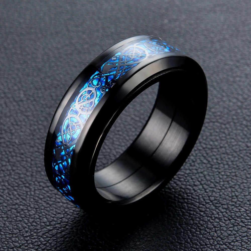 US 7 до 14 высококачественный серебряный и черный цвет синий углеродного волокна 316L Дракон из нержавеющей стали вращать мужское кольцо мужские кольца