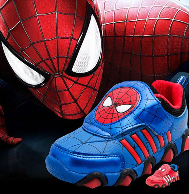 Children Casual Shoes New Spring Autumn Spiderman Flasher Fashion Sports Sneakers Kids Luminous Brand Light Boys Shoes Led Boots