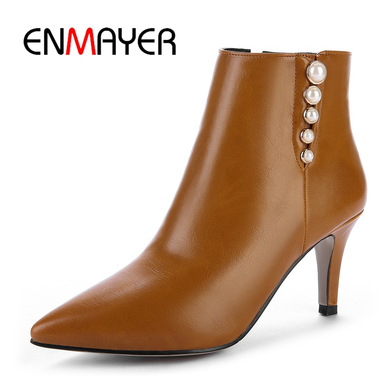 ENMAYER 2018 Winter women pointed toe ankle boots lady Square heel high heels zip pearl Size 32-43 ZYL131 enmayer high heels pointed toe spring