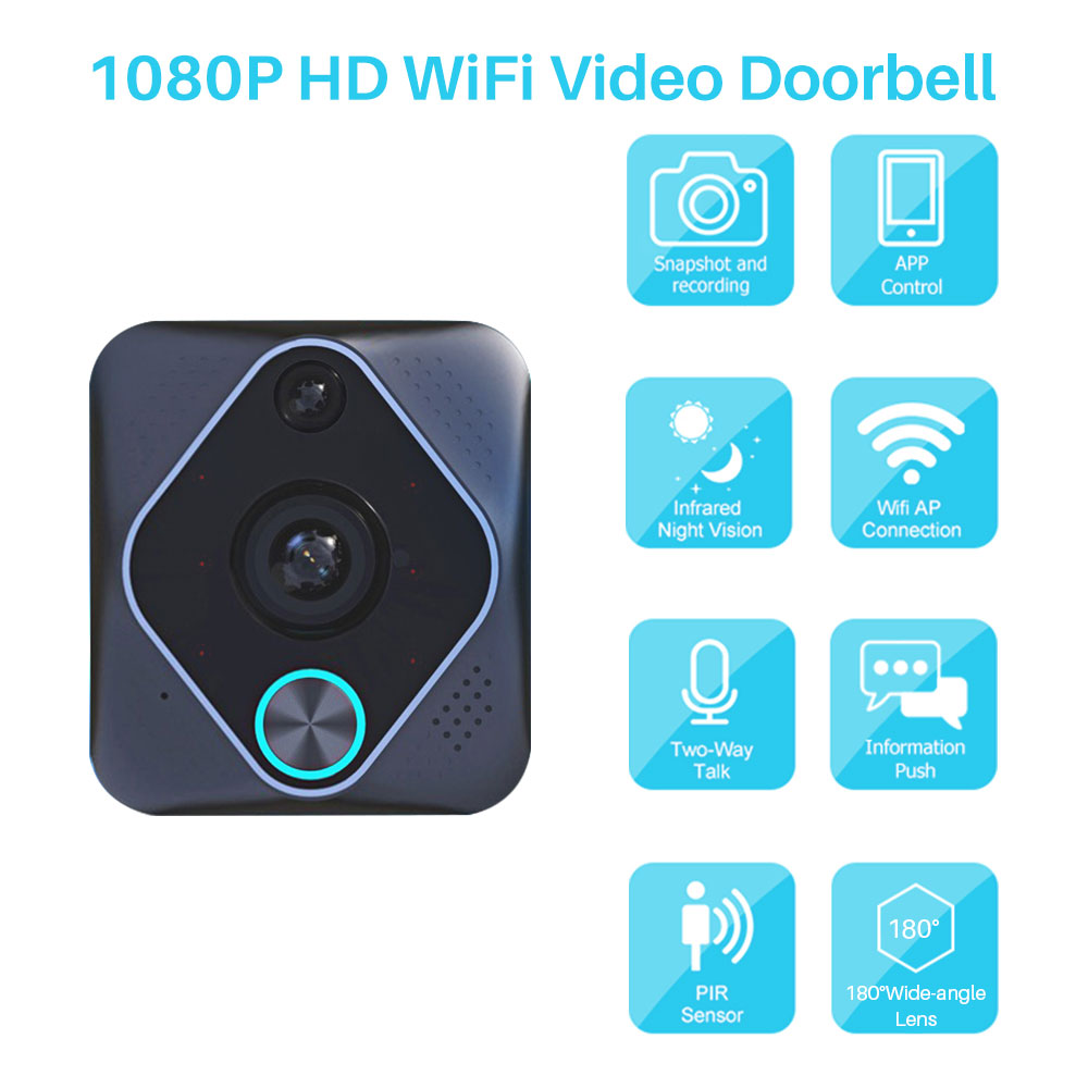 1080P HD WiFi Video Doorbell Smart Home Security Video Intercom Door Bell IR Night Vision PIR Motion Detection Via App Control