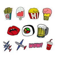 Brooch Wholesale Popcorn Sushi Nori Boarding Brooch Ice Cream Coke Beer Drip Brooch Aircraft Metal Badges