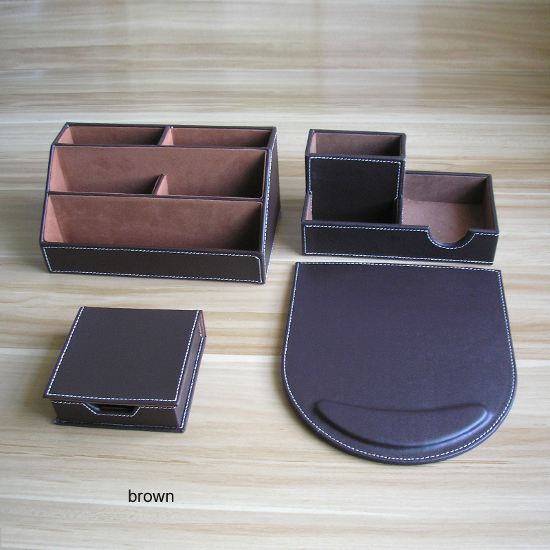 PU Leather Wood Multifonctional Desk Stationery Organizer Pen Holder Memo Holder Note Case Office Desktop Accessories K226