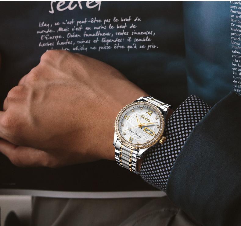 2018 OLEVS Luxury Brand Watch Men's Analog Quartz Auto Date Watches Man Waterproof Clock Men Sport Stainless Steel Wrist Watch 7