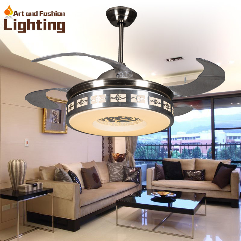 luxury ceiling fan lights modern ceiling fans 42 inches 5 invisible acrylic blade living room bedroom