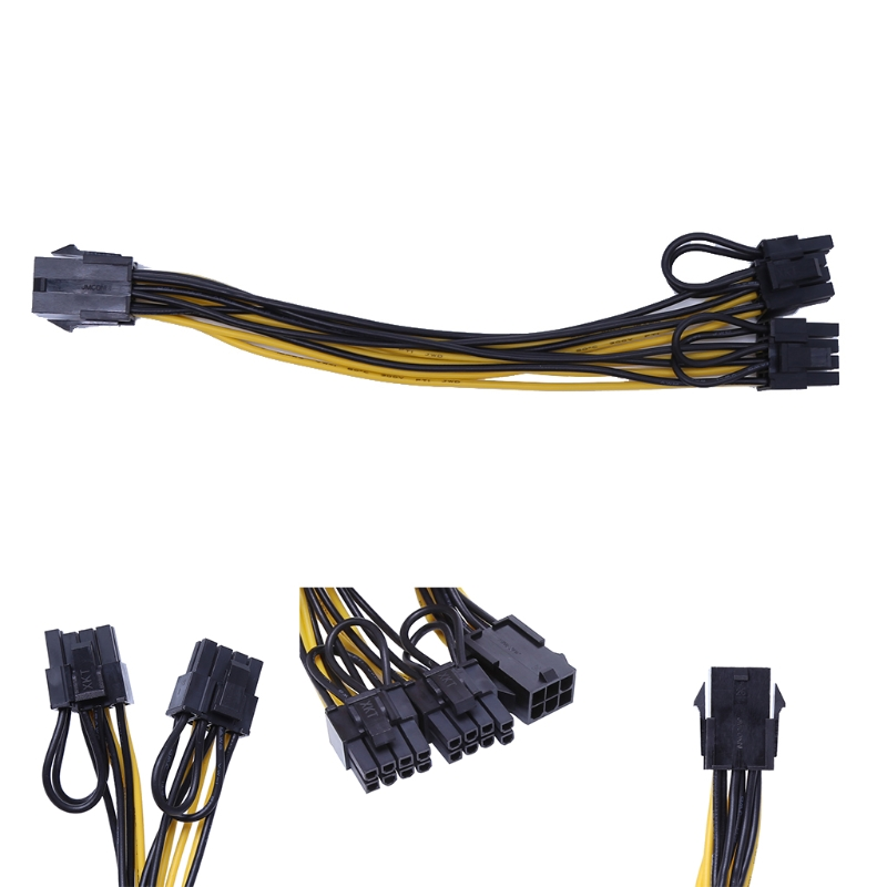 PCIE PCI Express 6Pin Female to Dual Double 2Port 8Pin ( 6+2Pin ) Male F/M Adapter GPU Video Card Power Cable 18AWG 20cm pci e pcie pci express 6pin male to dual double 2 port 6pin male adapter gpu video card power cable 18awg f21516