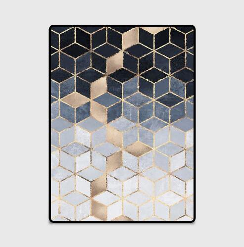 Nouveau INS nordique moderne métal doré tapis noir géométrique pour chambre porte tapis salon tapis salon Tapete métal vent tapis - 5