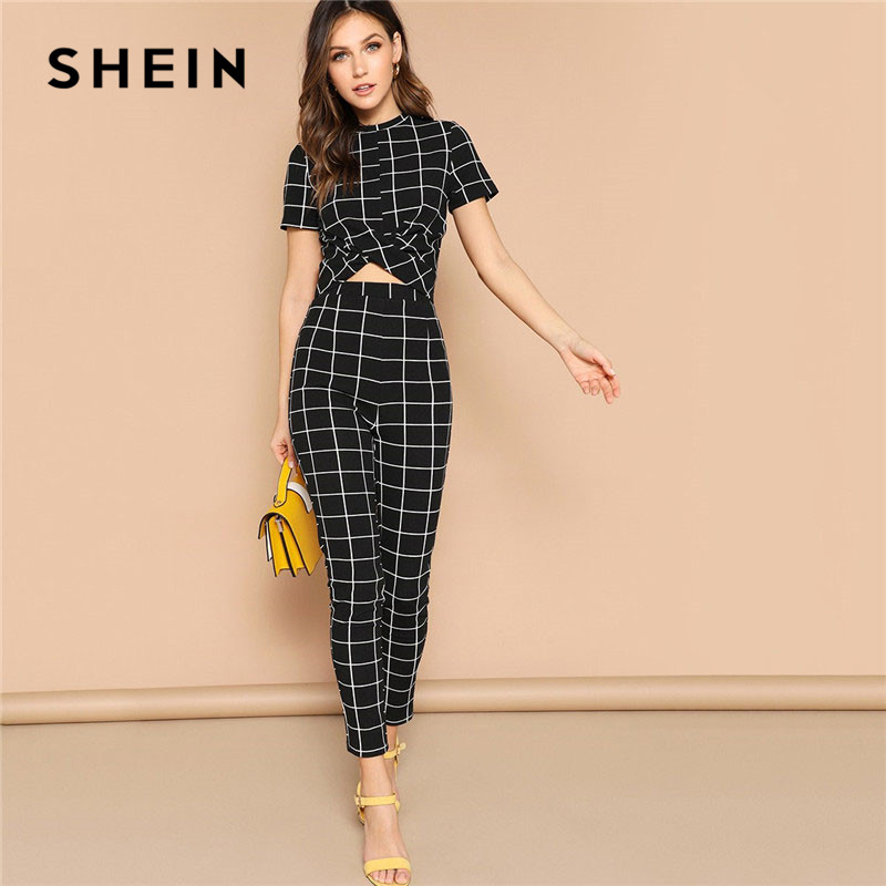 SHEIN Twist Front Grid Crop Top And Skinny Pants Matching Set Women Clothing Spring Elegant Short Sleeve Plaid Two Piece Set 1