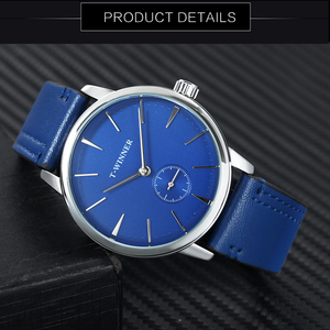 Image 3 - WINNER Official Fashion Minimalist Blue Mechanical Watch Men Leather Strap Casual Ultra Thin Mens Watches Top Brand Luxury Clock
