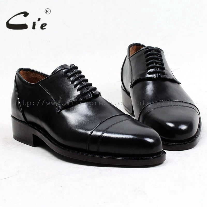cie round toe custom bespoke leather men shoe handmade size US6-14 pure genuine calf leather outsole derby black men's shoe D153