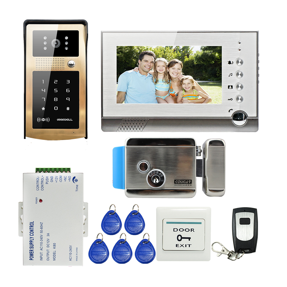 FREE SHIPPING NEW 7 Video Intercom Door Phone Kit Record Monitor 8G SD + Metal Outdoor RFID Code Keypad Doorbell Camera E-lock 2016 new calls recorder for mobile phone record phone call on time for any phone size free shipping