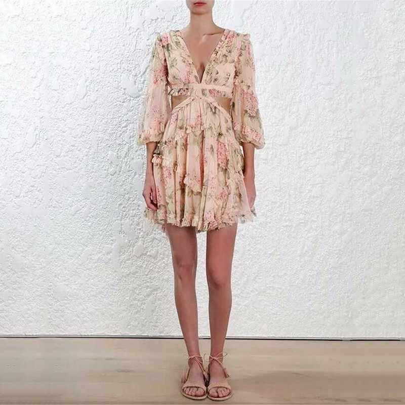 Twotwinstyle sexy vestido de impressão feminina chiffon v pescoço oco para fora lanterna manga cintura alta mini vestidos verão moda doce novo