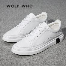 c3628109a29 WOLF WHO Модная брендовая дышащая мужская обувь повседневные кожаные модные  мужские кроссовки туфли на плоской