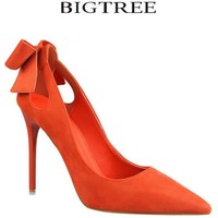 D H Brand Shoes Bow Woman High Heels Women Pumps Hollow Stiletto Thin Heel Pointed