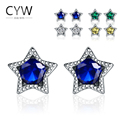 Sale Unisex Earing Brincos 2017 New Arrival 925 Sterling Silver 4 Colors Cubic Zirconia Five Pointed Star Stud Earrings Jewelry