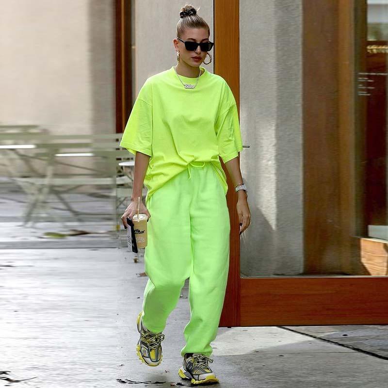 Ahagaga 2019 Autumn Cotton Long T-shirt Women Tops Tees O-neck Casual Fashion Oversized Loose Neon Green Top Long Hip-hop Shirts