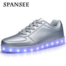 Размер 28-45 USB Зарядка Световой Кроссовки Светящиеся Shoes Tenis Feminino корзина Свет подошва Тренеры Дети Мальчик LED Тапочки 30