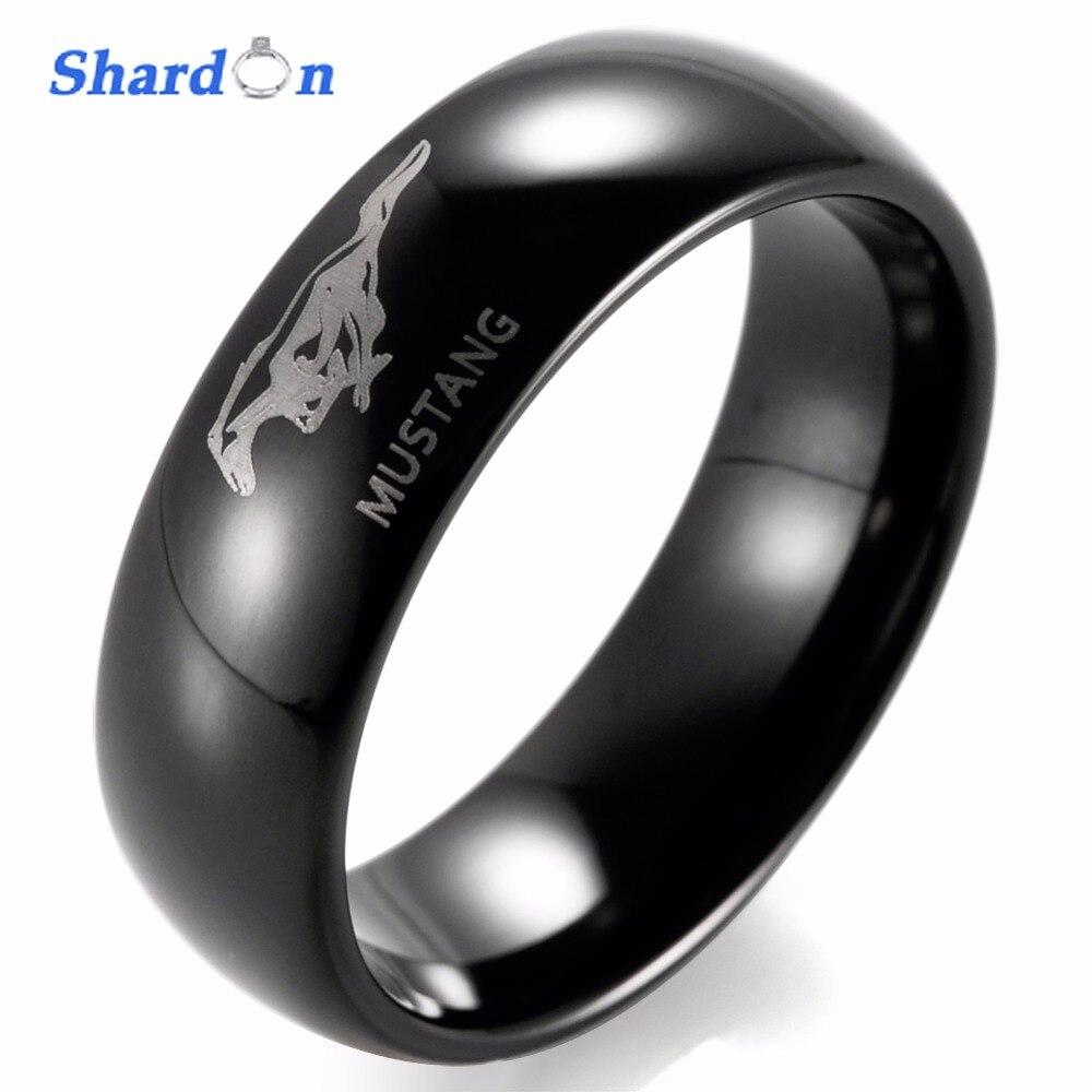 SHARDON Hochzeit band Engagement schmuck Wolfram ring Engagement ring Gewölbtes Ford Mustang Logo Laser Gravierte 8mm Ring