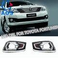 2 Pçs/set LEVOU luz Do dia Carro DRL Luzes Diurnas Para Toyota Fortuner 2012 2013 2014 com Função de Sinal de Volta da lâmpada