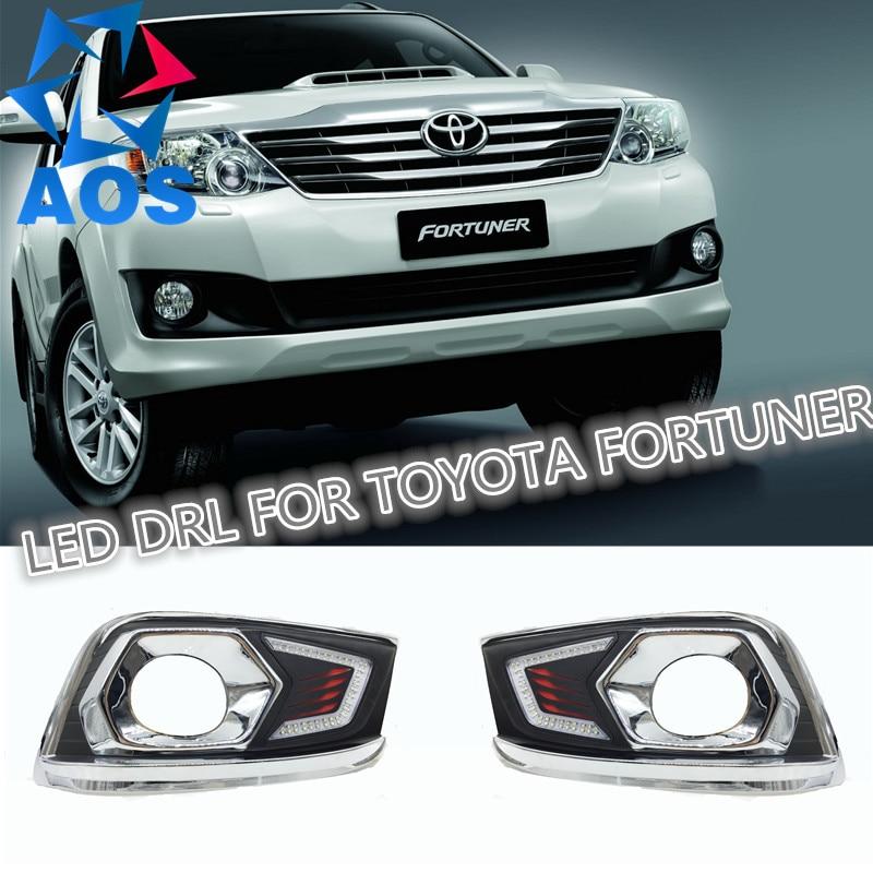 2 Pcs/ensemble LED DRL Voiture daylight Feux Diurnes Lumières livraison gratuite 12 V 6000 K DRL Pour Toyota Fortuner 2012 2013