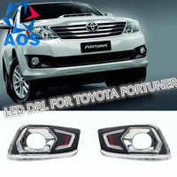 2PCs Set LED DRL Car Daylight Daytime Running Lights For Toyota Fortuner 2012 2013 2014 With