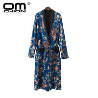 OMCHION Womens Clothing 2017 Summer New Floral Printed Pockets Long Kimono Long Sleeve V Neck Sashes Cardigan BL46