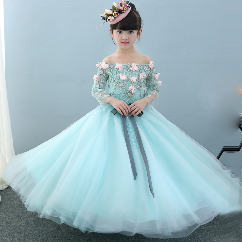 Ball Gown Princess Dress Flower Girls Dresses for Wedding Floral Girl Vestidos Off The Shoulder Pageant Appliques Dress D152 все цены