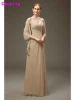 2017 New Real Long Formal Two Pieces Champagne Mother of The Bride Dresses With Shawl Wrap A line Mother's Evening Dresses