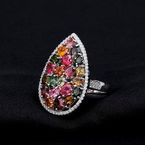 Image 4 - Gem ballet s ballet 5.21ct natural colorido turmalina pedras preciosas anéis feminino 925 prata esterlina moda cocktail jóias finas
