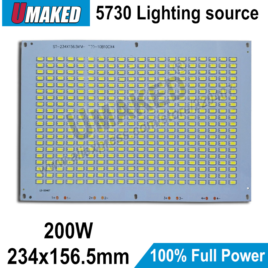 100% Full Power LED Floodling PCB 200W SMD5730, 234x157mm led PCB board,Warm white/ White Aluminum plate for led floodlight dc 12v 45w 155mm led pcb white red color input dc12v needn t driver smd5730 high lumen aluminum lamp plate