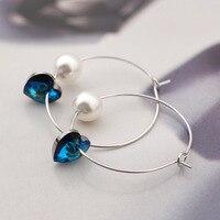 Heart shaped simple wild colorful marine heart earrings ear ring