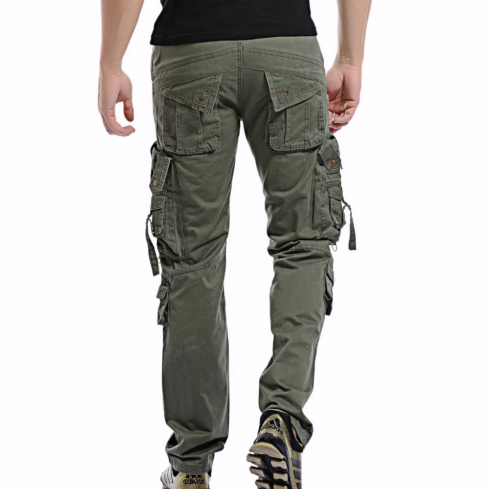 2019 Men Cargo Pant Casual Men Multi-Pocket Overall Male Combat Cotton Trousers Army Casual joggers pants Size 42 Drop shipping(China)