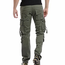 2019 Men Cargo Pant Casual Multi-Pocket Overall Male Combat Cotton Trousers Army joggers pants Size 42 Drop shipping