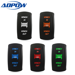 ADPOW New 24V Car Rocker Switch (ON) -OFF- (ON) 7 Pin Laser Blue Momentary Rocker Toggle Switch 12V
