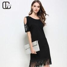 Fashion Summer Plus Size Women's Handmade Bead O-Neck Short Sleeve Dresses Black Tassel Party Off Shoulder Woman Dress 5XL