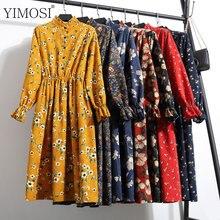 New Autumn Winter Women Party Dresses 2018 Casual Elastic Waist Stand Neck Printed Corduroy Dress Vintage Midi Bodycon Dress