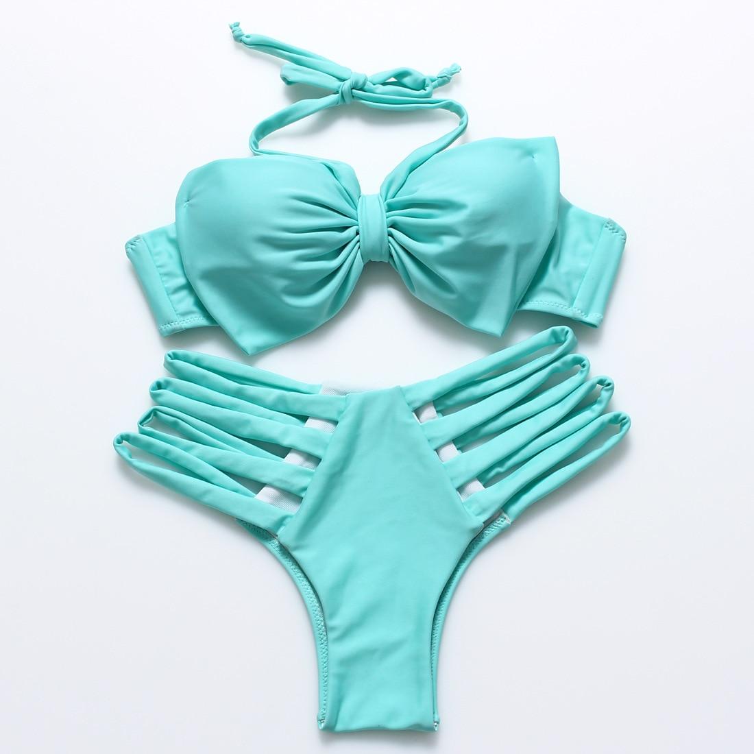 ФОТО Wholesale Bikini Set Bandage Swimsuit Women Solid Polyester Low Waist Beachwear Sexy Summer Bathing Suit for Girls