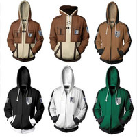 Anime Attack On Titan hoodie jacket Shingeki no Kyojin Legion Eren cosplay costume Plus size 5XL Sweatshirts Zipper Hoodies