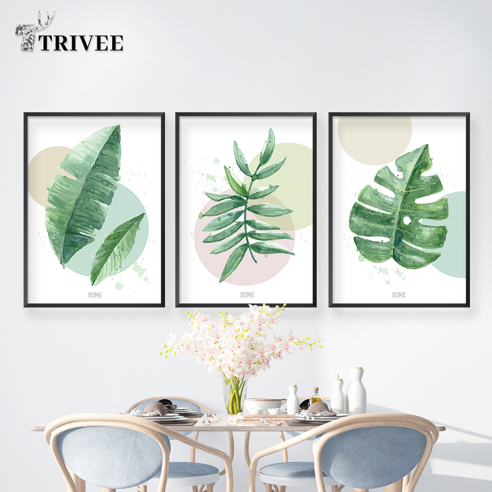Tropical Plants Modern Art Canvas Painting Leaves Landscape Nordic Prints Or Living Room Wall Decor Bathroom Decoration