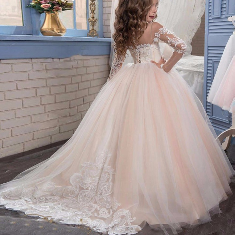 349c7d3ffa887 US $99.0 |ZYLLGF Robe Petite Fille D'honneur Mariage Ball Gown Girls  Dresses For Party And Wedding Long Sleeve Pageant Dress For Girl FP30-in  Flower ...