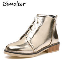 Bimolter Winter Warm Women New Fashion Ankle Boots Female Lace-Up Martin Boots Big Size 34-43 Shoes Glossy Gold Silver PAEB014 mljuese 2019 women ankle boots soft cow leather lace up winter warm fur white color female boots women martin boots size 33 43