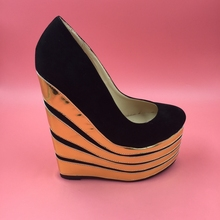 Black Wedge High Heel Women Pumps Round Toe Thick Platform Slip-on Shoes Ladies Comfortable True to US Size Gold Wedge Heels
