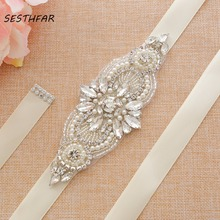 Стразы свадебный пояс прозрачный кристалл пояс невесты серебряные свадебные лента для свадьбы аксессуары J173S