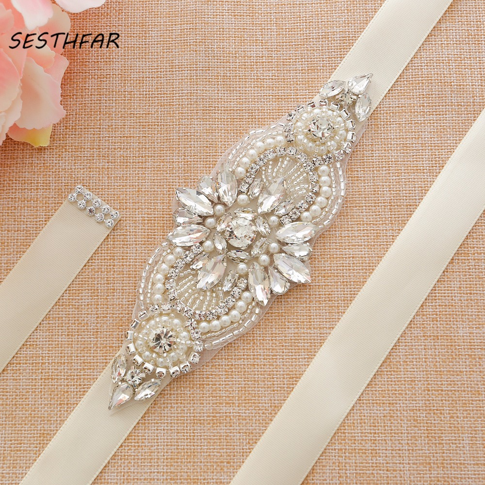 Rhinestones Wedding Belt Transparent Crystal Bridal Belt Silver Bridal Sash For Wedding Accessories J173S