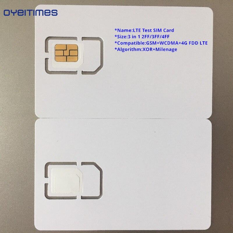 OYEITIMES 4G LTE de tarjeta SIM soporte doble Milenage y XOR algoritmos de prueba de tarjeta SIM Mini micro y Nano prueba en blanco tarjeta SIM