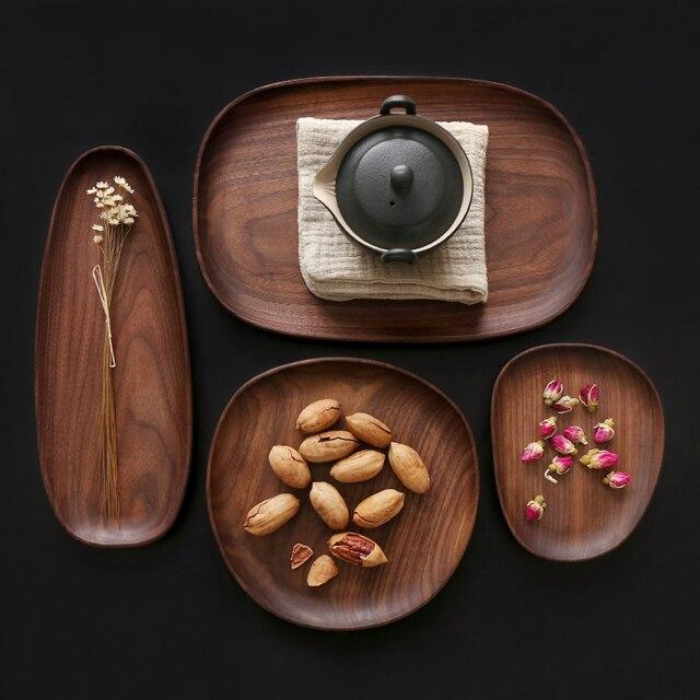 Whole Wood Black Walnut with Irregular Oval Wood Pan Plate Fruit Plate Saucer Tea Tray Dessert Plate