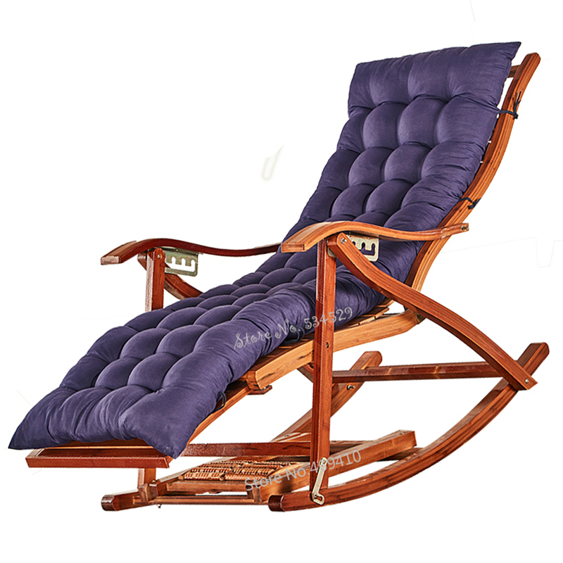 Recliner Rocking Chair Adult Folding Lunch Break Easy  Living Room Napping Bed Home Balcony Leisure Old Bamboo