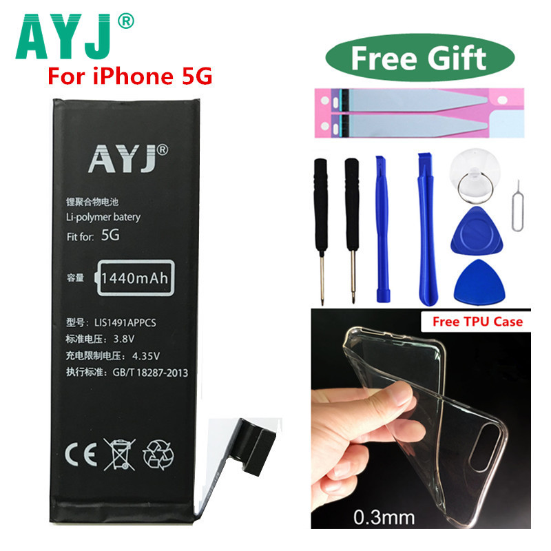 100% Original AYJ Telefon Batterie Für Apple iPhone 5 iPhone 5g iPhone5 Batterya 1440 mAh Reale Kapazität Tools Kit batterien Aufkleber
